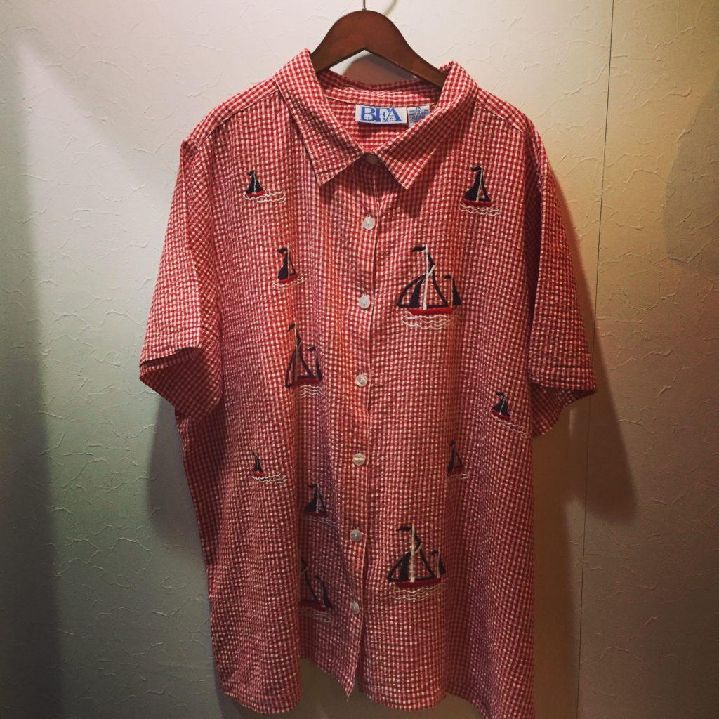 赤白ギンガムチェック×ヨット刺繍なBigSizeシアサッカーシャツの巻!! メンズ レディース