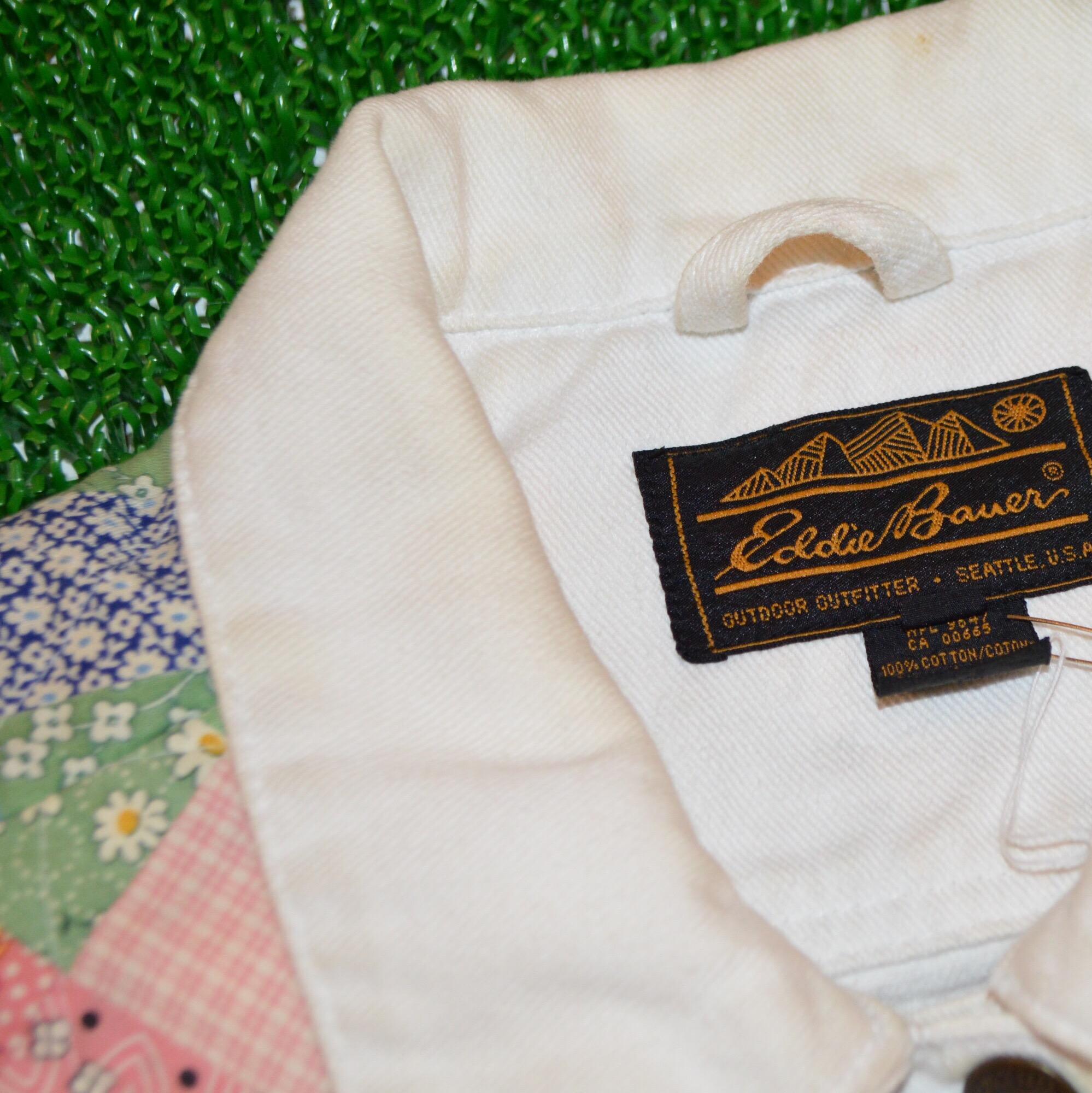 EDDIE BAUER キルティングパッチワーク ホワイトデニムジャケット!! メンズ レディース