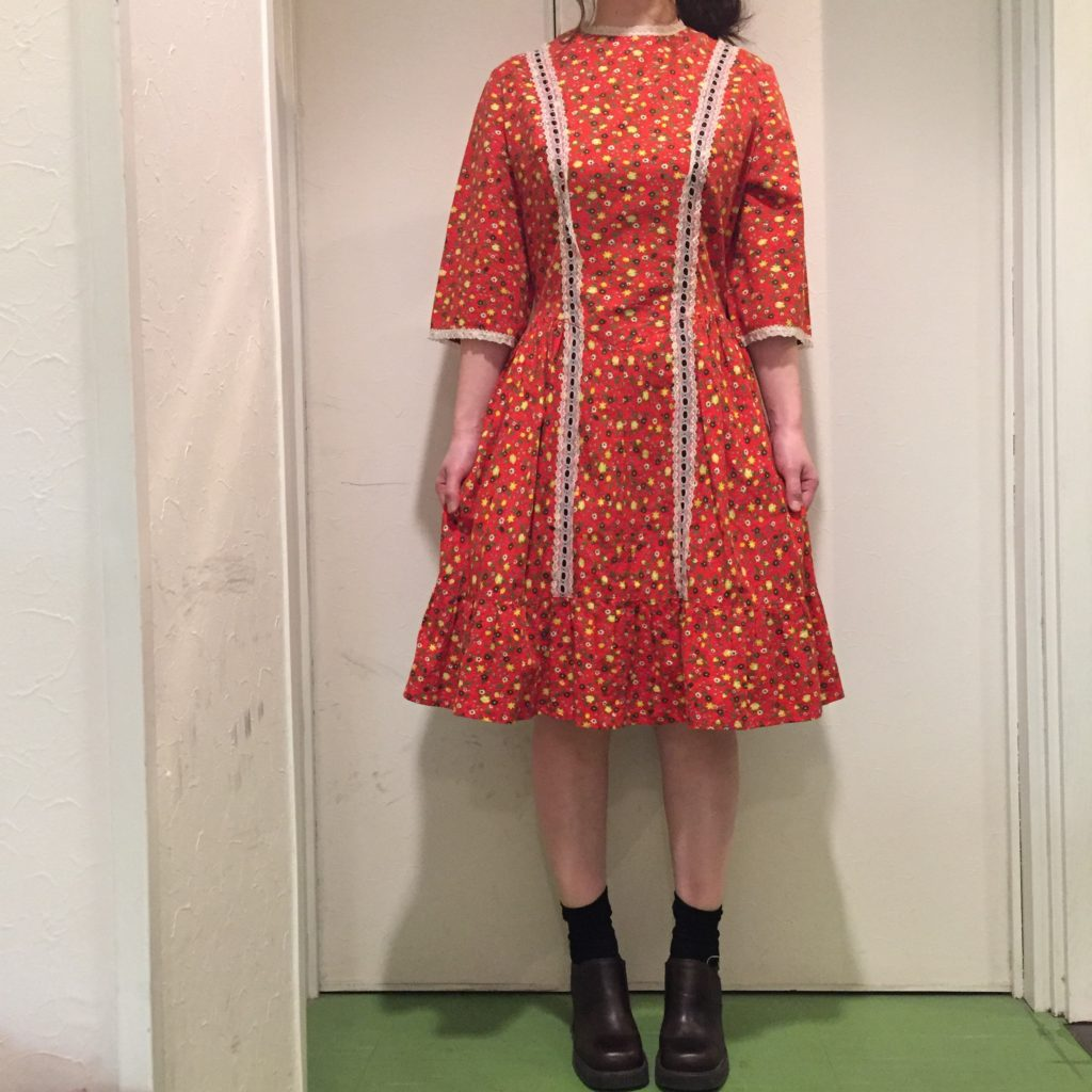 70S- Vintage小花柄レトロワンピース!! レディース