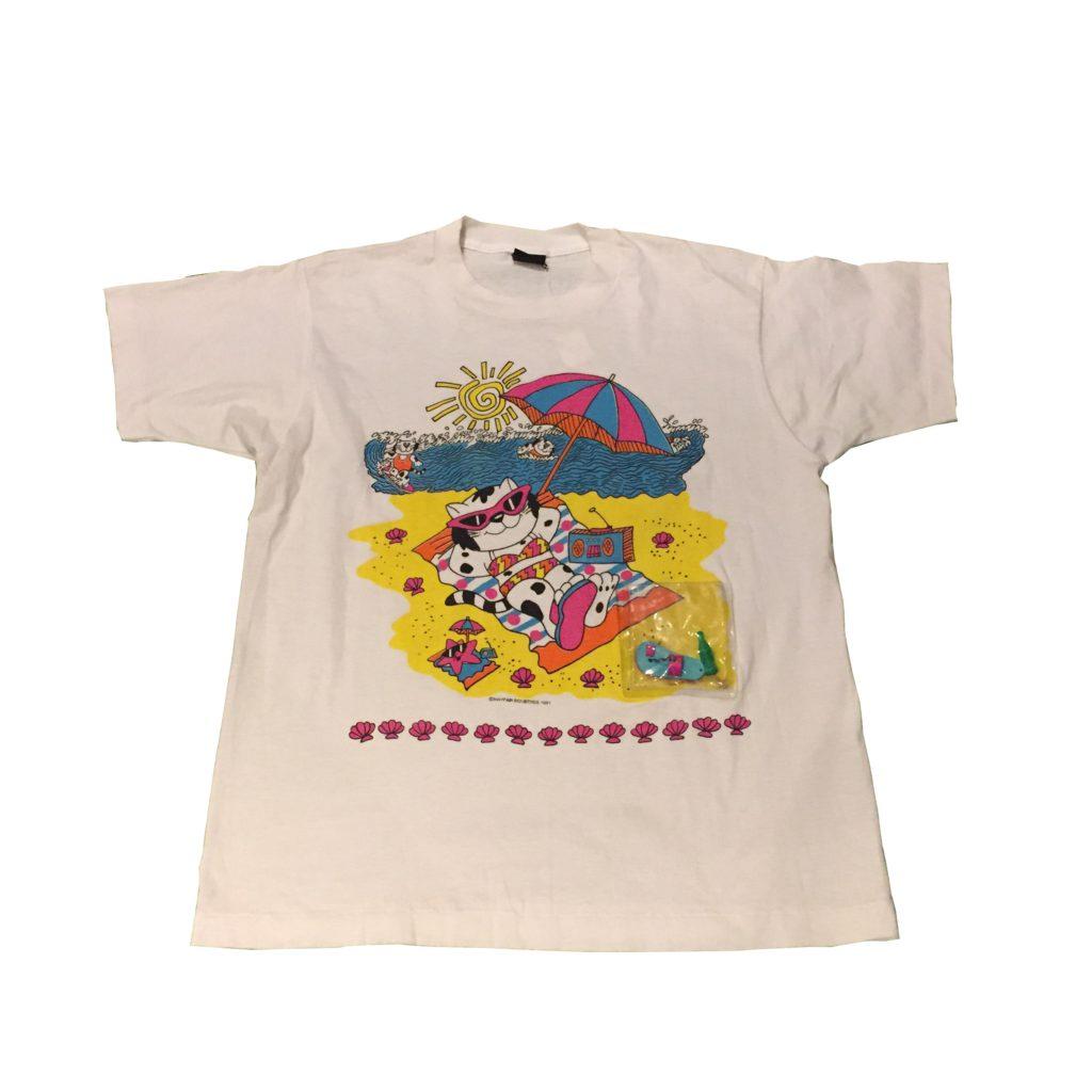 90S 海水浴猫ちゃん Tee!! レディース