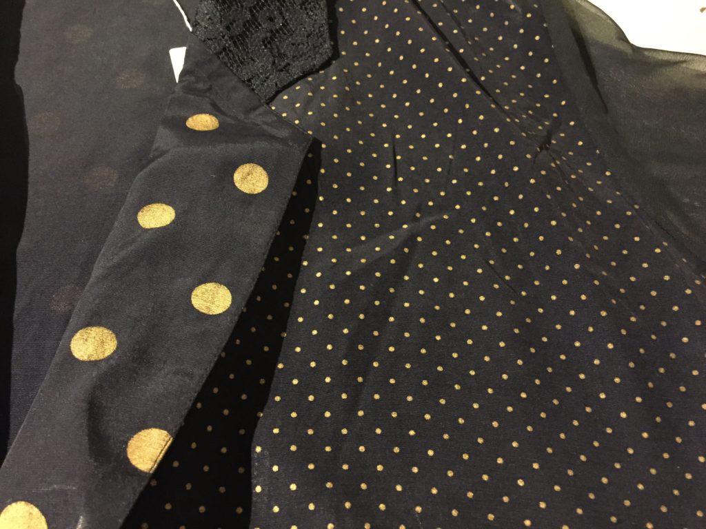 USA製 クレイジーパターン ドット柄×袖シースルー テーラードジャケット!! レディース