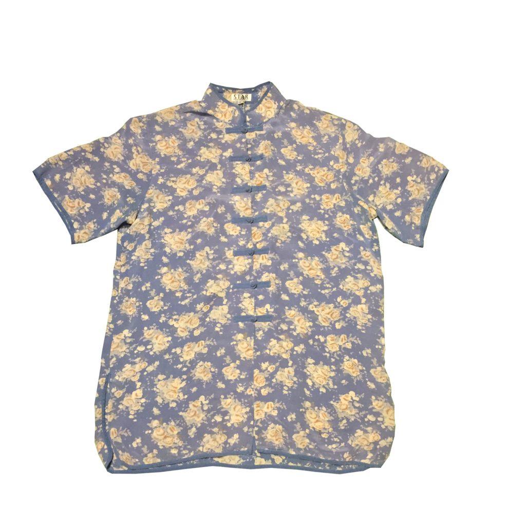 花柄 シルク チャイナシャツ!! レディース