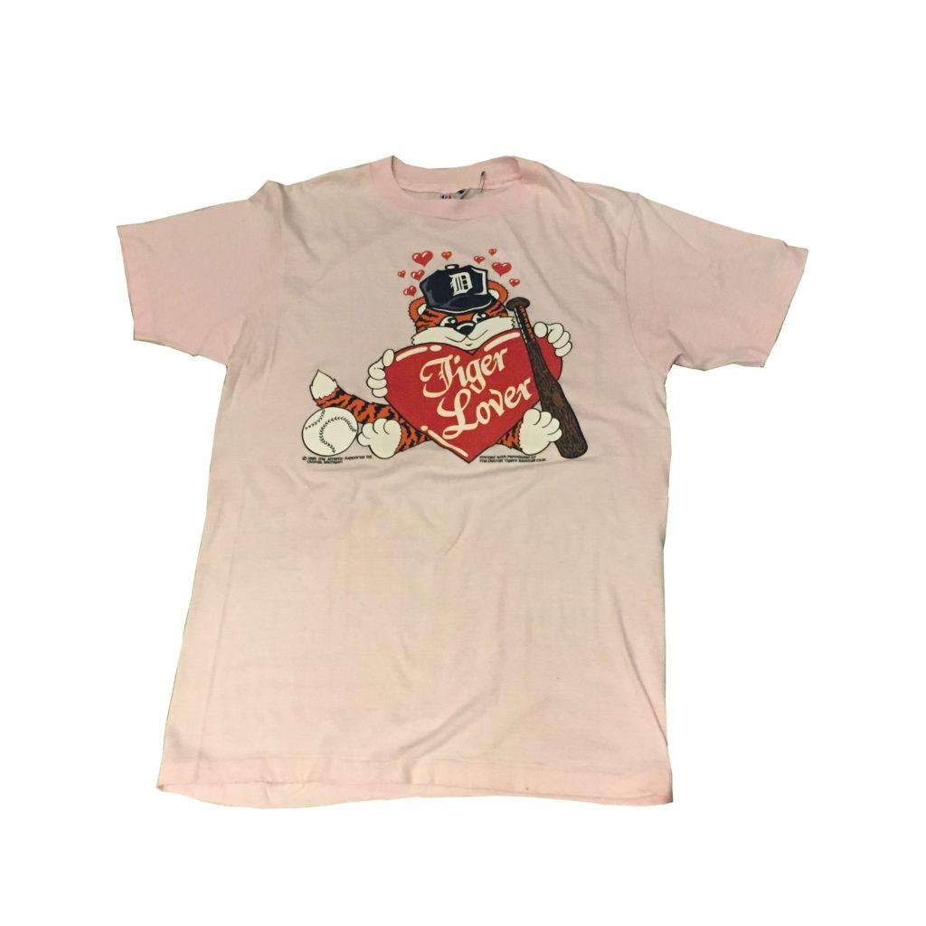 古着 Tシャツ パステルピンク 80S デトロイトタイガース お知らせ