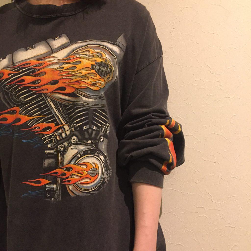 古着 Tシャツ ハーレーダビッドソン ファイャーパターン ユニセックス