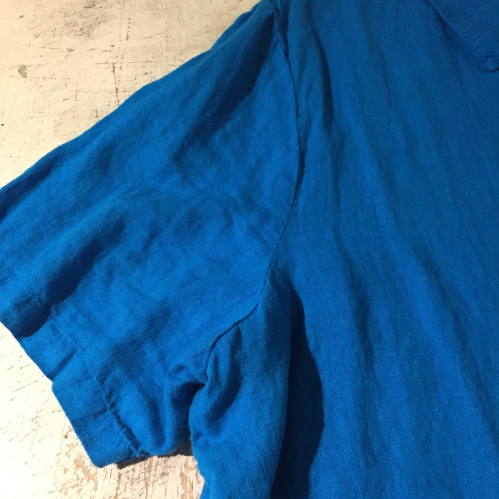 古着 シャツ リネン×刺繍 ターコイズブルー ユニセックス