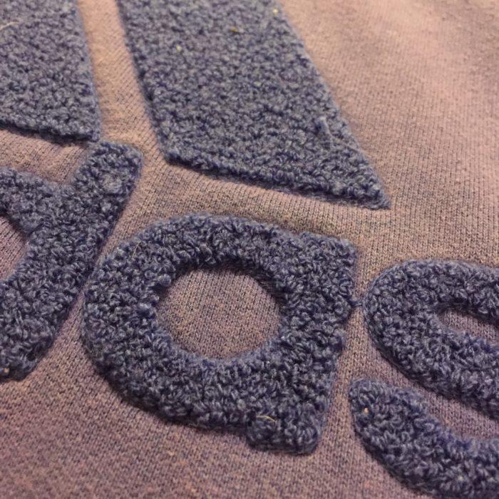 古着 スウェット adidas モコモコプリント 3本ライン ユニセックス