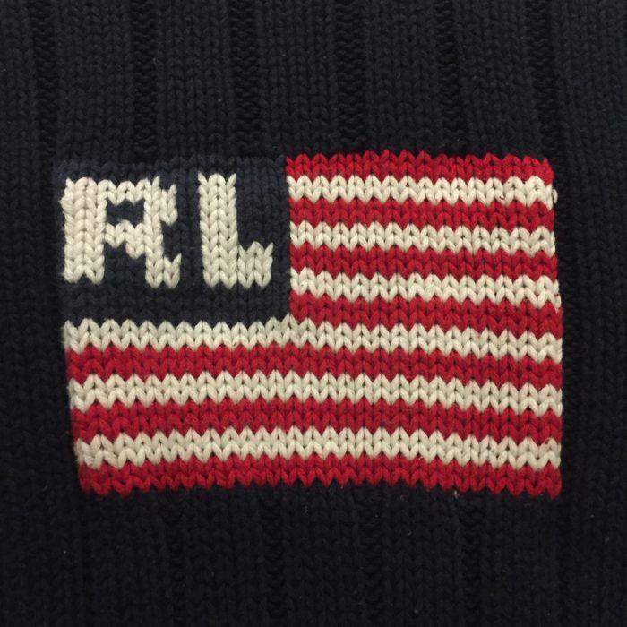 古着 ニットセーター POLOJEANSCOMPANY 星条旗 USフラッグ レディース
