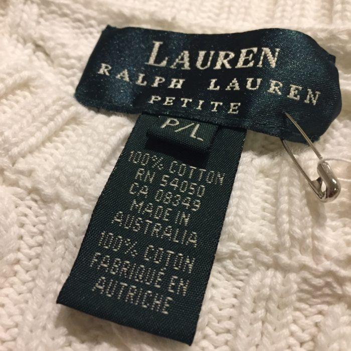 古着 ニットセーター Lauren エンブレム刺繍 コットンニット レディース