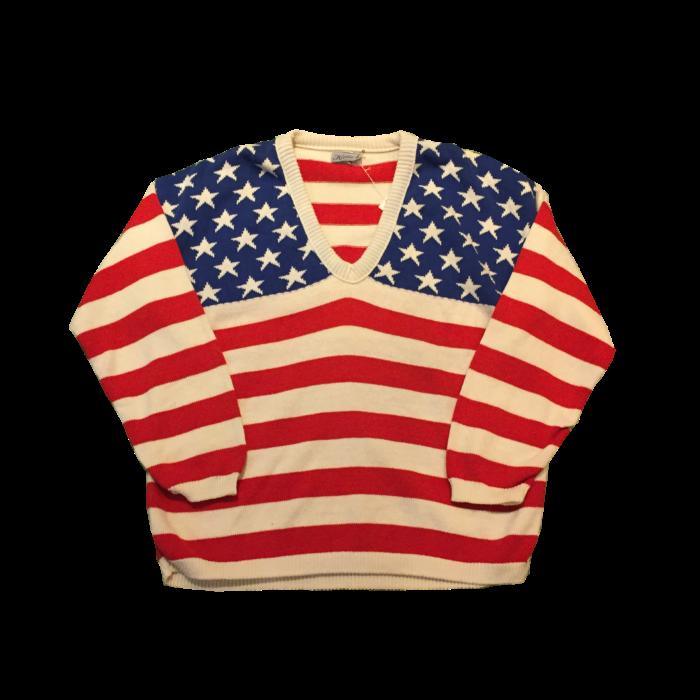 古着 ニットセーター USフラッグ USA製 ユニセックス
