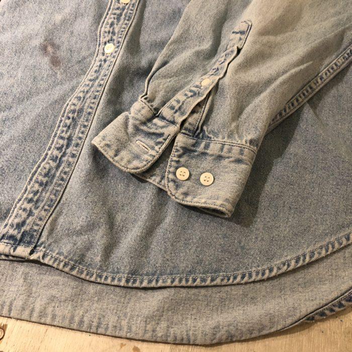 古着 デニムシャツ ノーカラー 90S OLD GAP ユニセックス