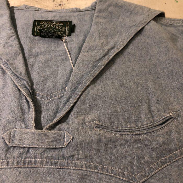 古着 RALPH LAUREN COUNTRY デニム セーラーカラーシャツ 80S-90S レディース