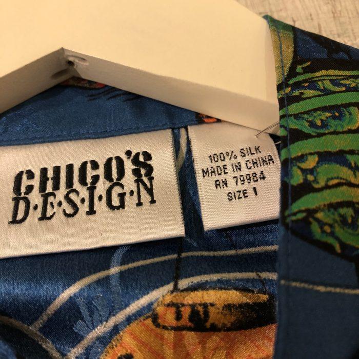古着 シルクシャツ 提灯柄 CHICOS DESIGN ユニセックス