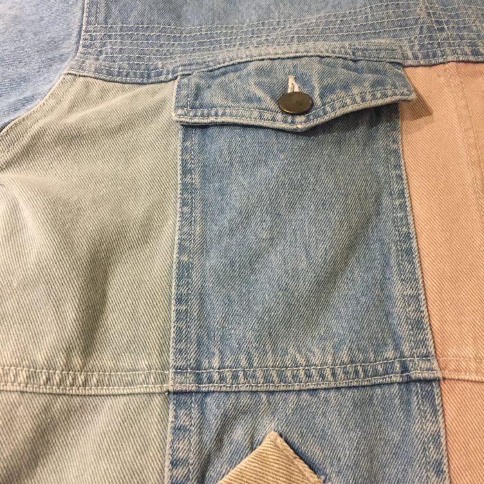 古着 デニムジャケット パッチワーク パステルカラー 90S ユニセックス
