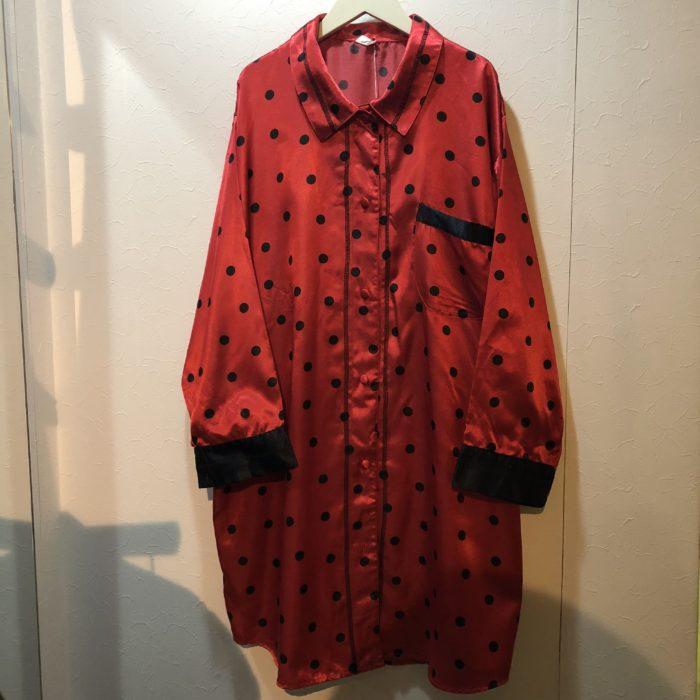 古着 パジャマシャツ サテン×ドット Euro ユニセックス