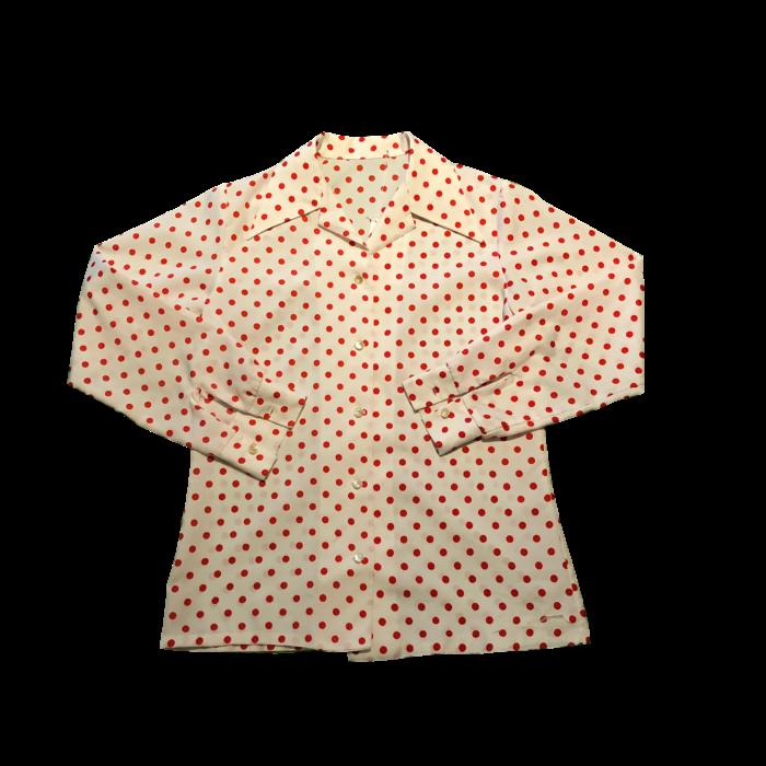 古着 オープンカラーシャツ ポリエステル ドット 水玉 赤×白 レディース