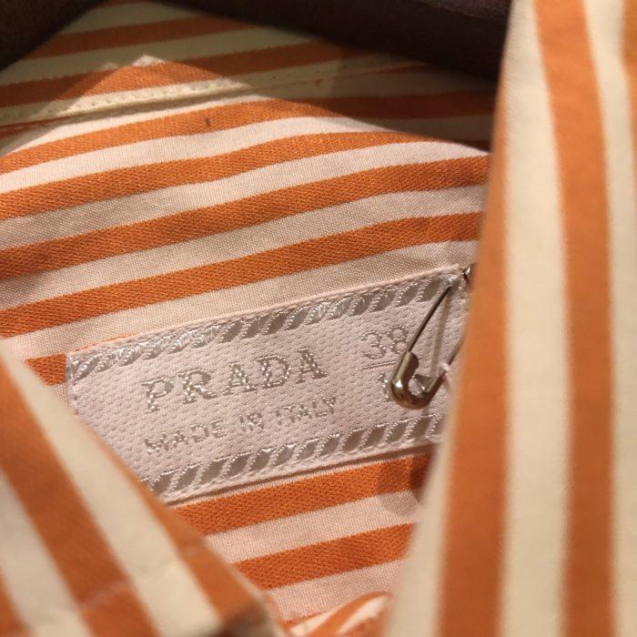古着 PRADA ストライプ L/S シャツ ITALY製 ユニセックス