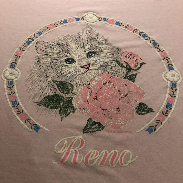 古着 Tシャツ 猫 パステルカラー 80S 90S  USA製 レディース
