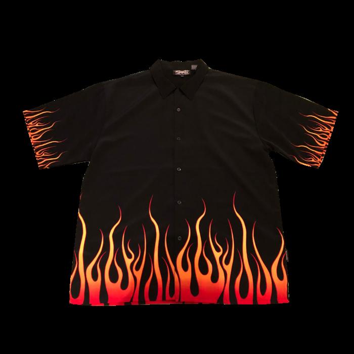 古着 シャツ ファイヤーパターン ポリエステル BigSize ユニセックス