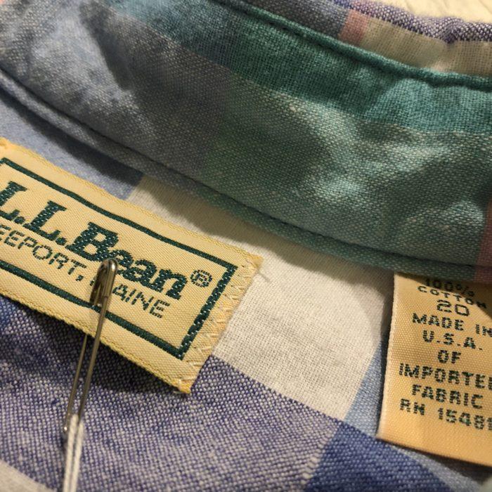 古着 シャツ L.LBean チェック パステル  USA製 ユニセックス