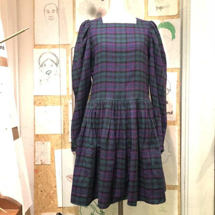 laura ashley check pattern puff sleeve dress レディース