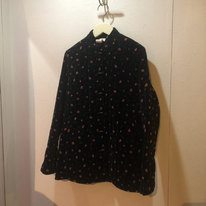 80s- flower pattern velor china design quilting jacket レディース
