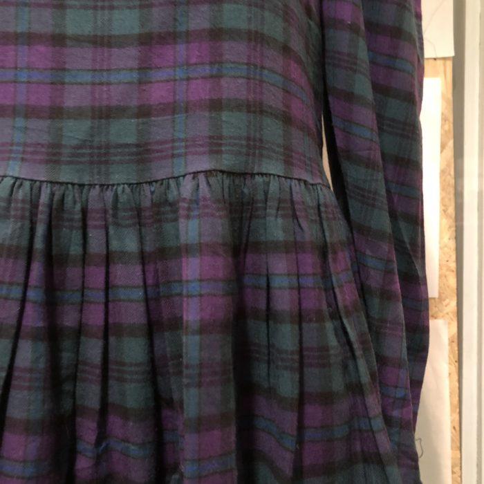 laura ashley check pattern puff sleeve dress レディース