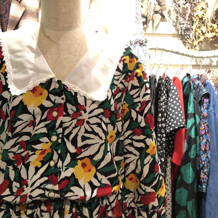 70s- Breli flower  pattern dress レディース