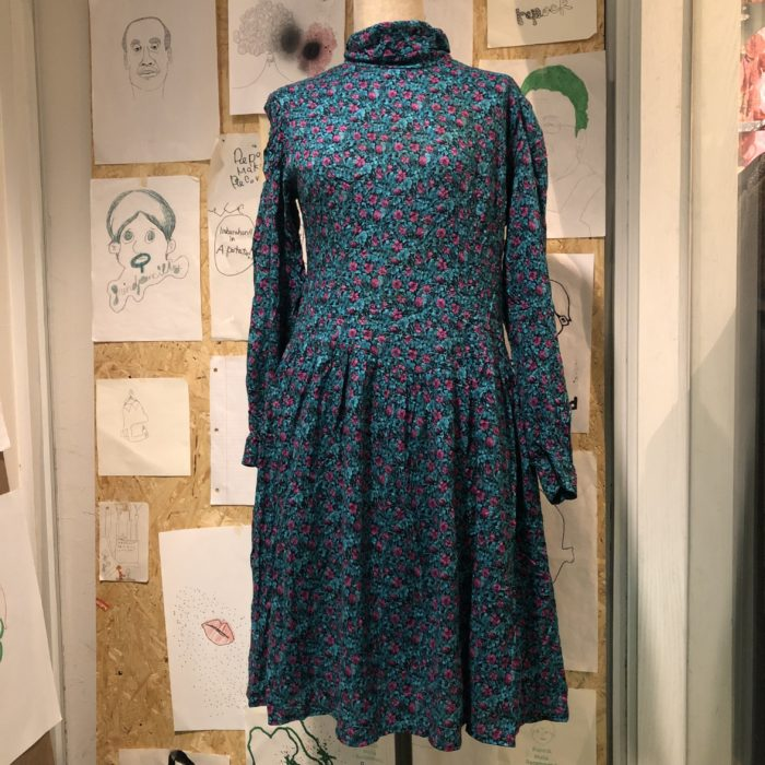 80s- flower pattern rayon dress レディース