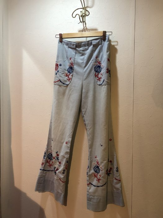 70s- VIntage embroidery flare pants レディース