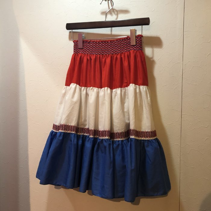 Tricolor color Shirred waistline skirt レディース