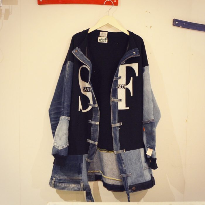 gpk Remake denim×sweatshirts jacket オリジナルリメイク