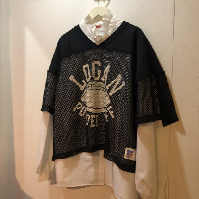 80s-90s RUSSEL mesh football tee レディース