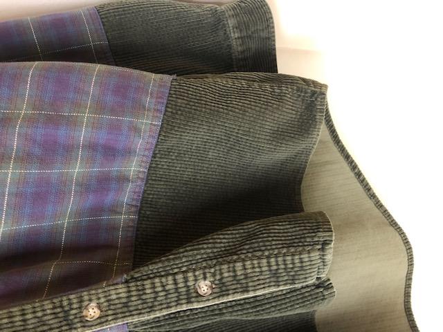 CANADA製 太畝コーデュロイ×チェック柄 B.Dシャツ ユニセックス